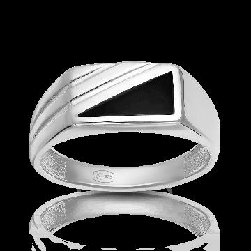 Кольцо-печатка из серебра с эмалью