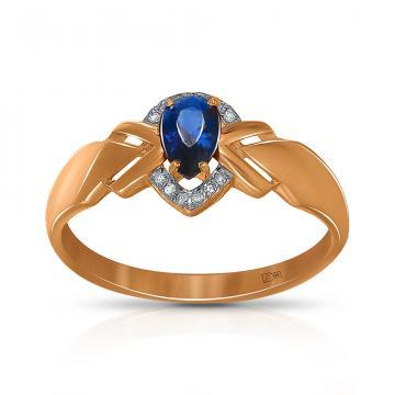 Кольцо из золота с сапфиром и бриллиантами
