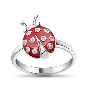 Кольцо SOKOLOV Божья коровка из серебра с эмалью