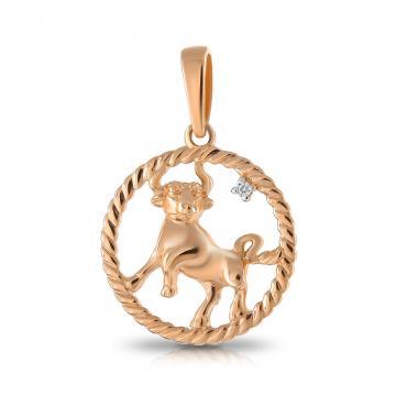 Подвеска TALANT из золота с фианитом, знак зодиака Телец