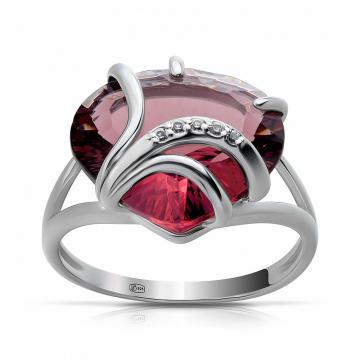 Кольцо из серебра с родолитом и фианитами
