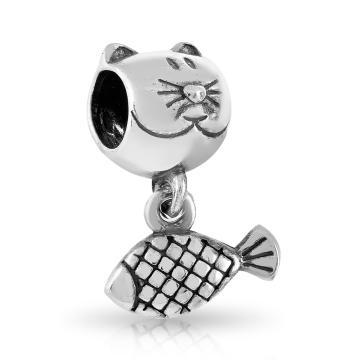 Подвеска-шарм Кот с рыбкой из серебра