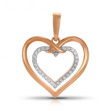 Подвеска TALANT Сердце из золота с фианитами