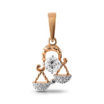Подвеска TALANT из золота с фианитами, знак зодиака Весы