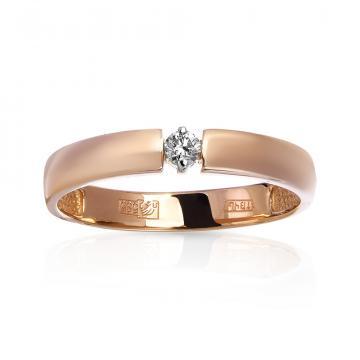 Кольцо обручальное с бриллиантом из золота