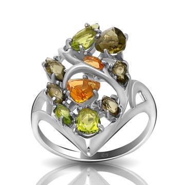 Кольцо из серебра с турмалином, хризолитом и цитрином