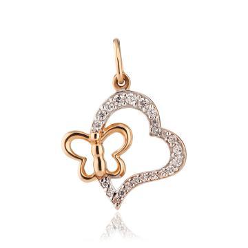 Подвеска Сердце из золота с фианитами