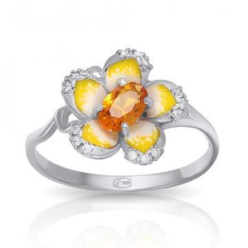 Кольцо из серебра с цитрином и эмалью