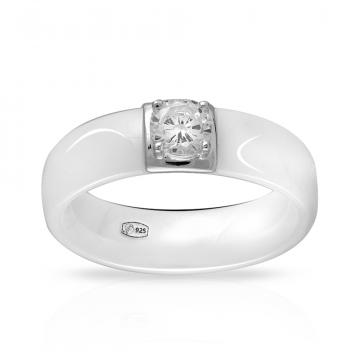 Кольцо из серебра с керамикой и фианитом