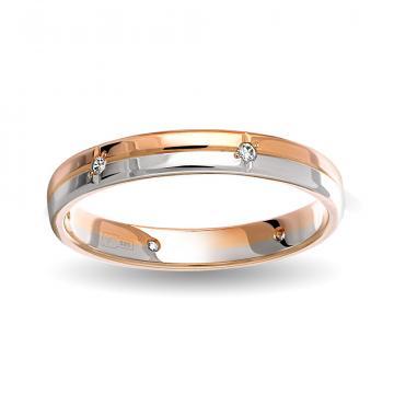 Кольцо обручальное с фианитами из золота,  синтеринг