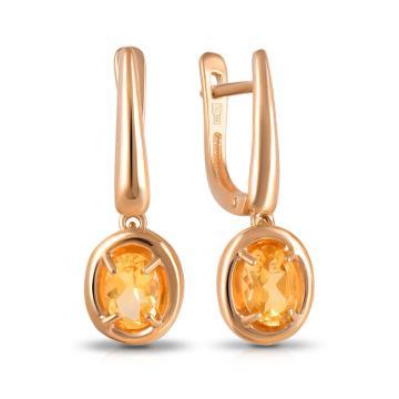 Серьги из золота с цитринами