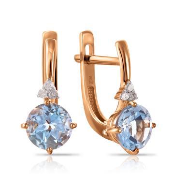Серьги из золота с топазом и бриллиантами