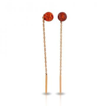 Серьги-продёвки из серебра с янтарём