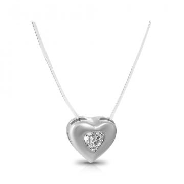 Колье на леске Сердце из серебра с фианитом