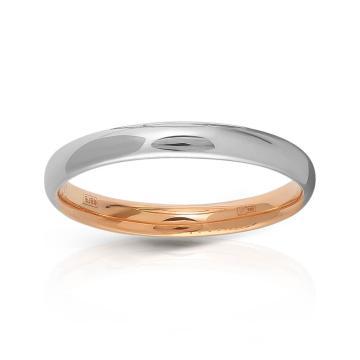Кольцо обручальное двухсплавное из золота