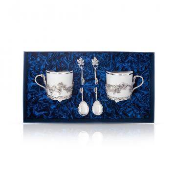 Набор чайный и кофейный Виноград из серебра