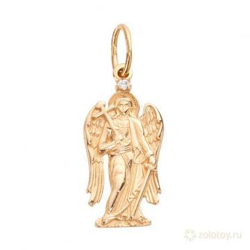 Подвеска-икона Ангела-Хранителя из золота с фианитом