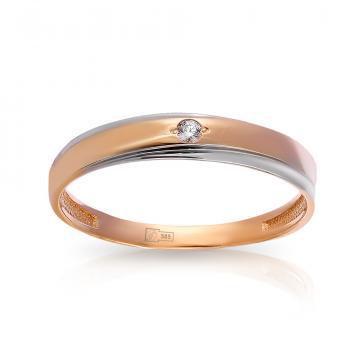 Кольцо обручальное из золота с фианитом