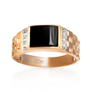 Кольцо-печатка из золота с фианитами