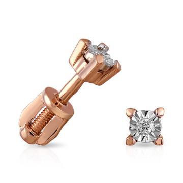 Серьги-пусеты с бриллиантом и родированием