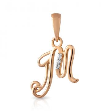 Подвеска буква М из золота с фианитами