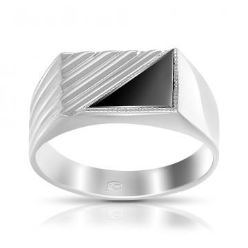 Кольцо-печатка из серебра с фианитами