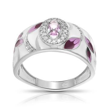 Кольцо из серебра с эмалью, ювелирным кристаллом и фианитами