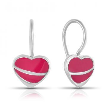 Серьги Сердце из серебра с эмалью