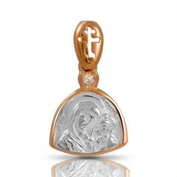 Подвеска-икона Казанская Богоматерь из серебра с фианитом