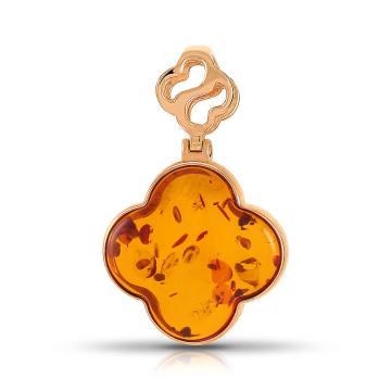 Подвеска из золота с янтарём, коллекция КЛЕВЕР