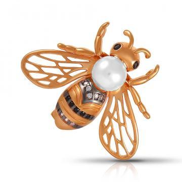 Брошь Пчела из серебра с жемчугом SWAROVSKI и фианитами