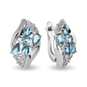 Серьги с ювелирными кристаллами и фианитами из серебра