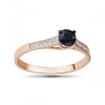 Кольцо из золота с черным сапфиром и бриллиантами