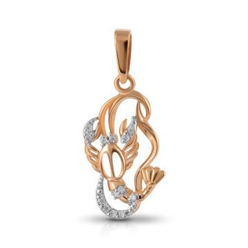 Подвеска TALANT из золота с фианитами, знак зодиака Рак