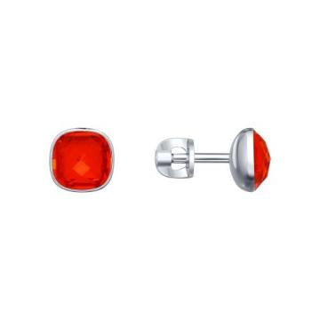 Серьги-пусеты SOKOLOV с кристаллом SWAROVSKI из серебра