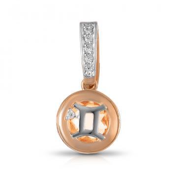 Подвеска из золота с цитрином и фианитами, знак зодиака Близнецы
