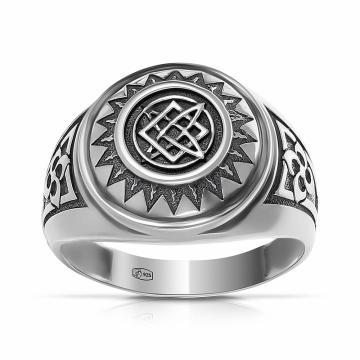 Кольцо-печатка руна Квадрат Сварога из серебра