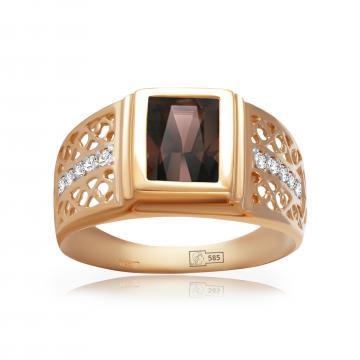 Кольцо-печатка из золота с раух-топазом и фианитами