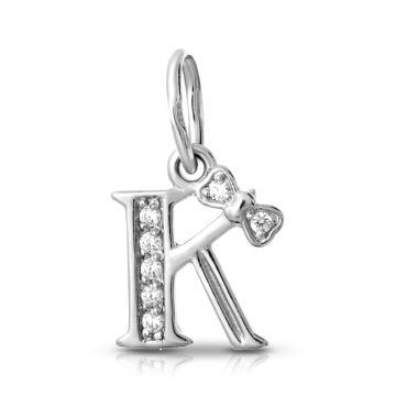 Подвеска буква К с фианитами из серебра