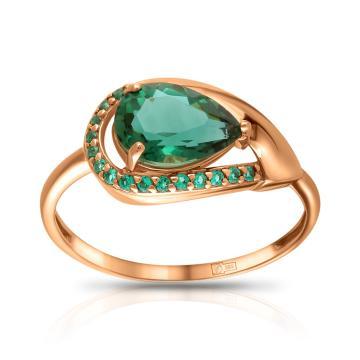 Кольцо из золота с кварцем и ювелирными кристаллами