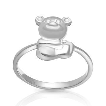 Кольцо детское Мишка из серебра