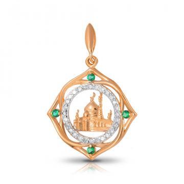Подвеска мусульманская из золота с изумрудами и бриллиантами