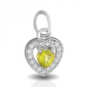 Подвеска Сердце из серебра с хризолитом и фианитами