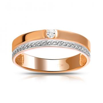 Кольцо обручальное из золота с кристаллами SWAROVSKI