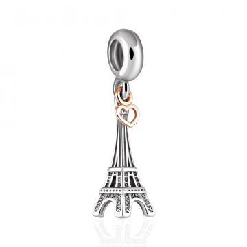 Подвеска-шарм Эйфелева башня с сердечком из золота и серебра, коллекция АНДОРА