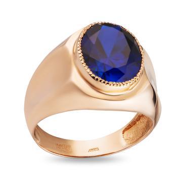 Кольцо-печатка из золота с сапфиром