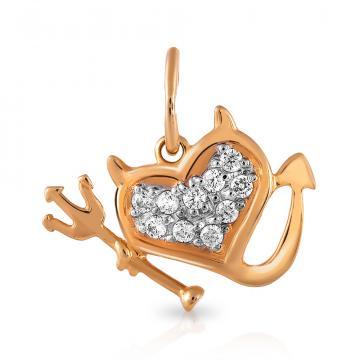 Подвеска Сердце из золота с фианитами, коллекция Рок-н-Ролл