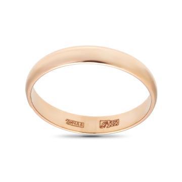 Кольцо обручальное из золота гладкое, 3 мм