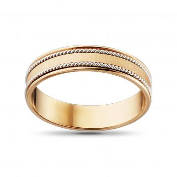 Кольцо обручальное Косы из золота, премиум, 5 мм