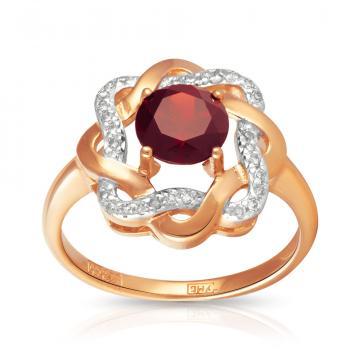 Кольцо из золота с гранатом и бриллиантами